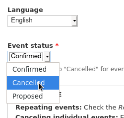 Event status dropdown in between language and date fields