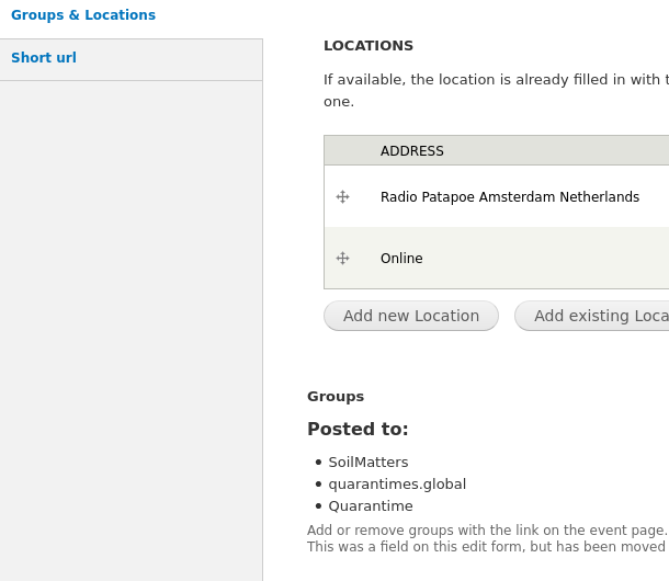 Bottom of the form to edit or create an event with locations and details of the groups it is in