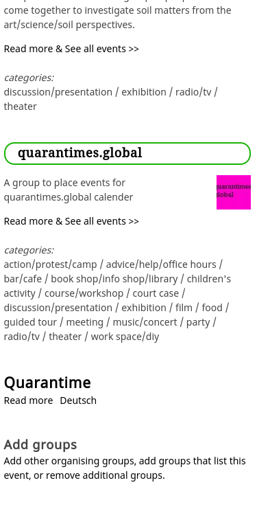 Event page groups section on the right with link to add or remove groups